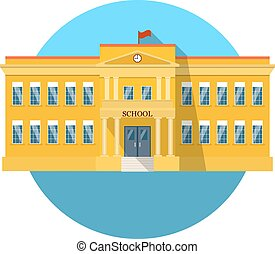 School building flat icon with long shadow