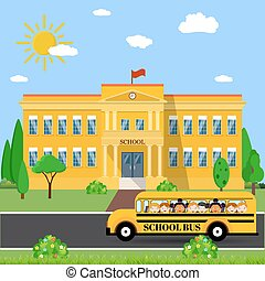 School building and bus - Welcome back to school School...