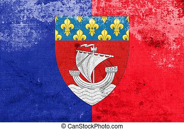 Flag of Paris with Coat of Arms Escutcheon only, France,...