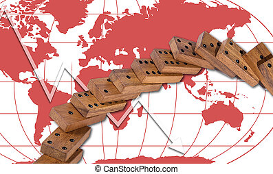 domino effect risk panic around the world concept background...