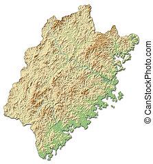 mapa,  (china),  -, ulga,  3d-rendering,  fujian