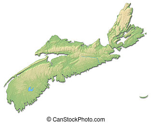 Relief map - Nova Scotia Canada - 3D-Rendering - Relief map...