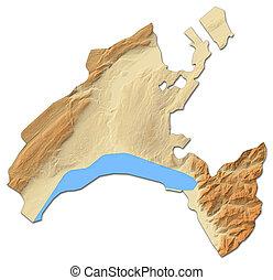 Relief map - Vaud (Swizerland) - 3D-Rendering