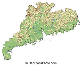 Relief map - Guangdong China - 3D-Rendering - Relief map of...