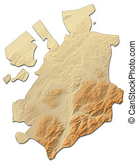 Relief map - Fribourg (Swizerland) - 3D-Rendering