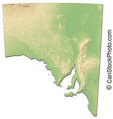 Relief map - South Australia (Australia) - 3D-Rendering