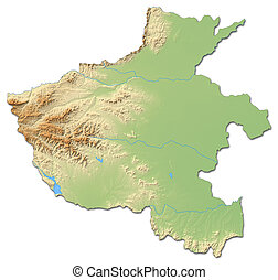 Relief map - Henan (China) - 3D-Rendering