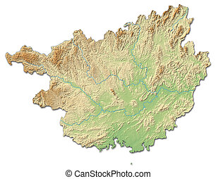 Relief map - Guangxi (China) - 3D-Rendering