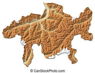 Relief map - Graubuenden (Swizerland) - 3D-Rendering