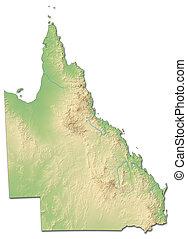 Relief map - Queensland (Australia) - 3D-Rendering - Relief...