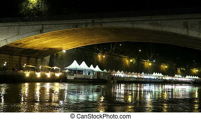 Rome summer stalls by Tiber bridge. - Rome Italy summer...