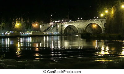 Rome bridge Tiber river night view. - Rome Italy. Night view...