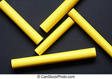 Yellow Paper Sticks - Abstract composition with set of...