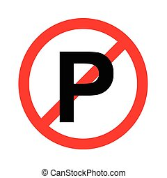 No parking sign icon on white backg