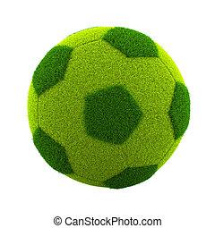 Grassy Soccerball - Green Grassy Soccerball Isolated on...
