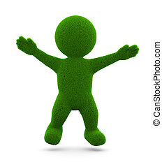 Little Green Grassy Man - Happy Green Grassy Character 3D...