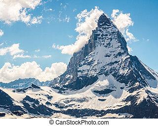 Matterhorn peak in sunny day view from gornergrat train...