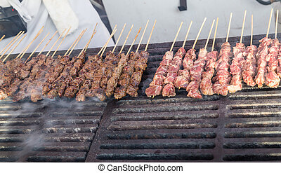 Kabobs Grilling in Market - Kabobs grilling in the Vancouver...
