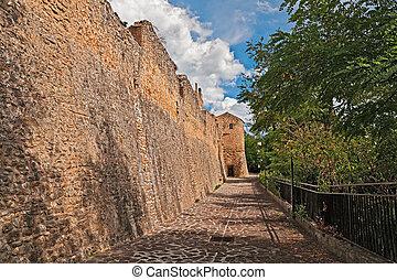 medieval city walls in Rocca San Giovanni, Chieti, Abruzzo,...