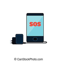Smartphone With SOS Message On The Screen And Charger Simplified Icon