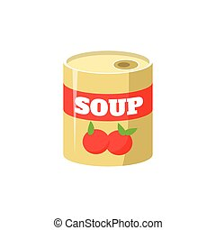 Tomato Soup In Can Simplified Icon - Tomato Soup In Can Flat...