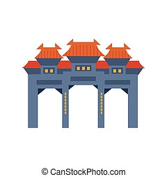 Blue Archway In Classic Chinese Style Simplified Icon - Blue...