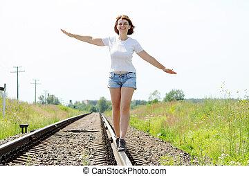 woman in the field - woman in a summer field