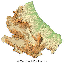 Relief map - Abruzzo (Italy) - 3D-Rendering