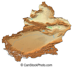 Relief map - Xinjiang (China) - 3D-Rendering