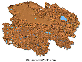 Relief map - Qinghai (China) - 3D-Rendering