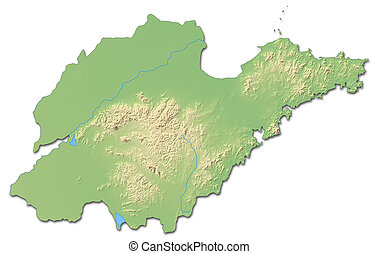 Relief map - Shandong (China) - 3D-Rendering - Relief map of...