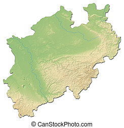 Relief map - North Rhine-Westphalia Germany - 3D-Rendering -...