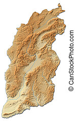 Relief map - Shanxi (China) - 3D-Rendering