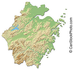Relief map - Zhejiang (China) - 3D-Rendering