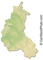 Relief map - Champagne-Ardenne (France) - 3D-Rendering
