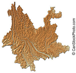 Relief map - Yunnan (China) - 3D-Rendering