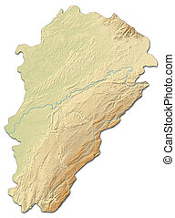 Relief map - Franche-Comte (France) - 3D-Rendering