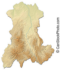 Relief map - Auvergne (France) - 3D-Rendering