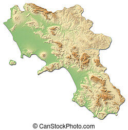 Relief map - Campania (Italy) - 3D-Rendering