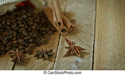 coffee beans - Close-up of coffee beans with star anise and...