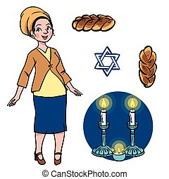 jewish woman - cute jewish religion woman with hala, candles...