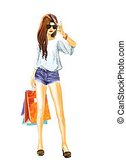 Watercolor Sexy woman with shopping bags - Beautiful sexual...