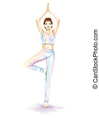 Woman is practicing yoga exercises. Watercolor image - The...
