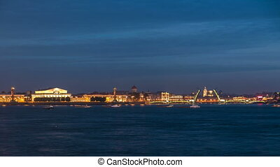 Night view of spit of Vasilyevsky Island and opened...