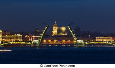 Night view of spit of opened Birzhevoy Bridge timelapse,...