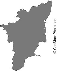 Map - Tamil Nadu (India) - Map of Tamil Nadu, a province of...