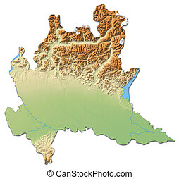 Relief map - Lombardy (Italy) - 3D-Rendering