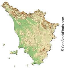 Relief map - Tuscany (Italy) - 3D-Rendering - Relief map of...