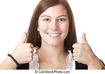 young happy Bavarian Woman in Dirndl with thumbs up