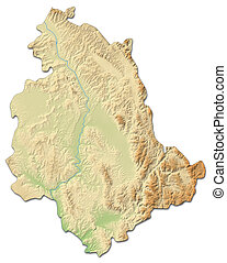 Relief map - Umbria (Italy) - 3D-Rendering